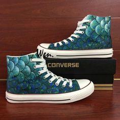 d04750ae35de Converse Shoes Men Women Hand Painted Fish Scales Canvas Sneakers