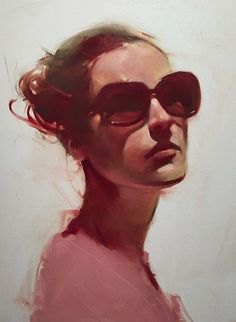 """Simple"" - Michael Carson (b. 1972), oil on panel {contemporary figurative art beautiful female head sunglasses face portrait cropped painting #loveart}"