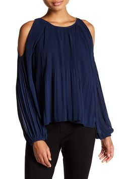 Long Sleeve Cold Shoulder Pleated Blouse
