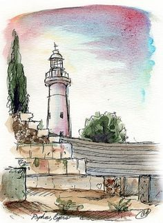 Water color painting light house