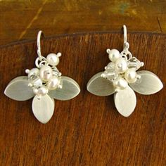 #Silver Petals #Pearl Earrings handcrafted by Bree Richey for Turtle Love Co.