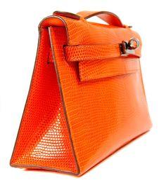 Hermès Orange Lizard 22 Cm Kelly Pochette