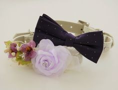 Purple Wedding idea, Purple Floral Dog Collar Bridesmaid & Best Man  by LADogStore, $64.99