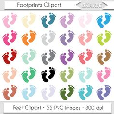 Baby Feet Clipart Footprints Clipart Baby Shower Clipart by skaior