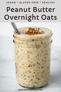 This is the best ever Peanut Butter Overnight Oats. Its creamy, subtly sweet, and full of nutritious ingredients. A great way to start the morning with a delicious and easy breakfast! Peanut Butter Overnight Oats, Healthy Peanut Butter, Overnight Oatmeal, Low Calorie Overnight Oats, Best Overnight Oats Recipe, Vanilla Overnight Oats, Breakfast Hotel, Morning Breakfast, Oat Smoothie