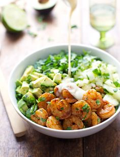 For a salad that's got all the bases covered, look no further. Spicy shrimp is high in protein and low in calories, crunchy-cool cucumber is packed with vitamins, and creamy avocado is a great source of filling, healthy fats. Get the recipe at Pinch of Yum.