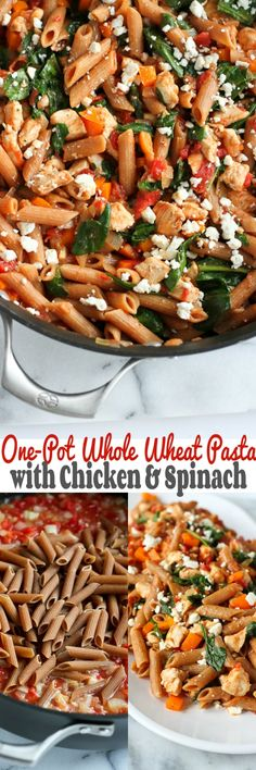 One-Pot Pasta with Chicken and Spinach…An easy, healthy dinner that's packed with flavor! 271 calories and 7 Weight Watchers PP | cookincanuck.com #recipe