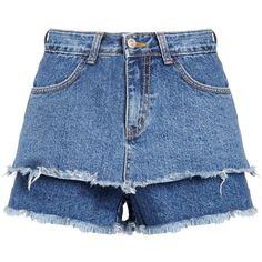 Layered Denim Frayed Shorts (917.490 IDR) ❤ liked on Polyvore featuring shorts, short, highwaist shorts, high waisted jean shorts, high-rise shorts, high-waisted shorts and high waisted short shorts