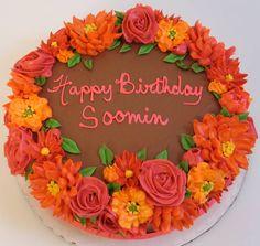 Buttercream floral fall cake
