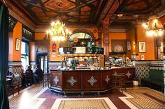 Cafe Iruna, Bilbao - looks like the place to while away a couple of hours! Bilbao, Basque Country, Weekend Breaks, Pamplona, Spain And Portugal, Restaurant Bar, Coffee Shop, Travel Guide, Decor