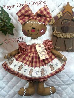 "Primitive NEW Raggedy Gingerbread Doll ""COOKIE"" in Apple Red and Tan Homespuns"