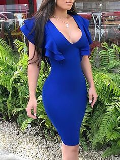 Shop Solid Plunge Ruffles Bodycon Midi Dress right now, get great deals at joyshoetique Tight Dresses, Sexy Dresses, Casual Dresses, Short Dresses, Fashion Dresses, 80s Fashion, Look Fashion, Look Kim Kardashian, Outfit Vestidos