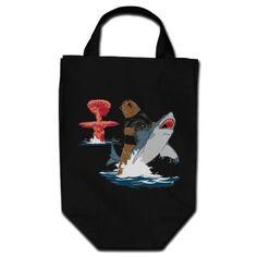 The Great Escape - bear shark cavalry Canvas Bags