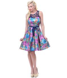Floral & Lace Mirabelle Dress - Unique Vintage - Cocktail, Pinup, Holiday & Prom Dresses.