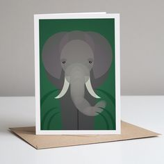 Elephant Card With Kraft Envelope. Eco Friendly by Mimi & Mae, the perfect gift for Explore more unique gifts in our curated marketplace. No Plastic, Plastic Waste, Bag Display, Modern Love, Tropical Birds, Retro Color, Animal Cards, Jungle Animals, Kraft Envelopes