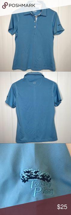 🆕💲Cutter & Buck Torrey Pines Golf Shirt 🆕💲Cutter & Buck Torrey Pines Golf Shirt. Powder blue with white stitching. Torrey Pines on left sleeve. Washed but never worn. Cutter & Buck Tops