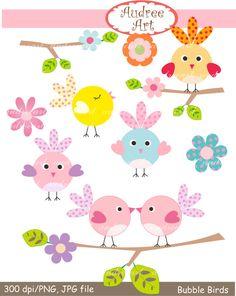 Clip Art Vögel, Vögel und Blumen, Bubble Bird sofortigen Download ClipArt