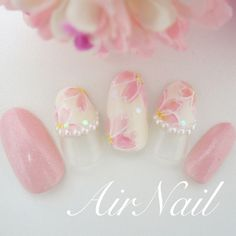 Pin on Nails Bridal Nails, Wedding Nails, Cute Nails, Pretty Nails, Japan Nail Art, Cherry Blossom Nails, Japanese Nails, Flower Nail Art, Creative Nails