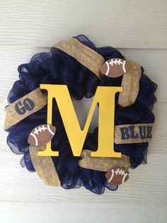 Michigan Wolverines deco mesh wreath