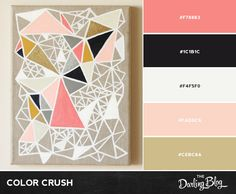 Color Crush - Pink, Gold, and Gray color palette Black Color Palette, Gold Color Palettes, Gold Color Scheme, Pink Palette, Colour Pallete, Colour Schemes, Color Combos, Color Patterns, Gold Colour