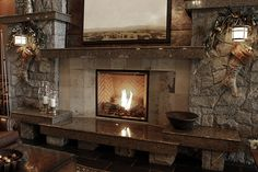 Multi level fireplace hearth & mantel in Tropical Brown granite at the Westin Bear Mountain Golf Resort located in Victoria, BC Hearth Stone, Fireplace Hearth, Natural Stone Fireplaces, Brown Granite, Bear Mountain, Stone Age, Natural Stones, Commercial, Golf