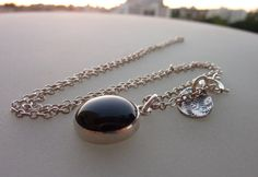 Black Onyx necklace birthstone necklace  sterling silver by anakim, $68.00