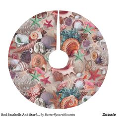 Red Seashells And Starfish Brushed Polyester Tree Skirt