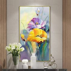 Gold art acrylic flower abstract paintings wall art pictures for living room wall decor blue thick texture canvas original home decoration - Gold acrylic flower wall decor abstract paintings on canvas Flower Painting Canvas, Oil Painting Flowers, Abstract Flowers, Acrylic Flowers, Diy Flowers, Green Canvas Art, Blue Canvas, Diy Canvas, Wall Canvas