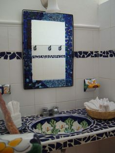 Mexican tiled bathrooms