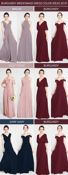 burgundy bridesmaid dress color ideas for 2018 #weddingcolors #bridalparty #bridesmaiddresses #2018weddings