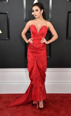 Charli XCX from Grammys 2017 Red Carpet Arrivals  In Vivienne Westwood