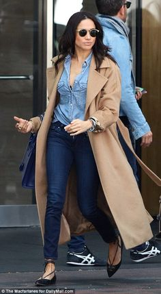 Meghan loves an oversized coat with a large collar