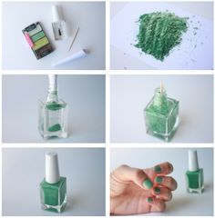 How To Make Your Own Nail Polish     Use a butter knife to scrape eyeshadow out of it's container (You can use old/cheap eyeshadow) and crush it up on a piece of paper so that it's in a powder consistency  Using a bottle of clear nail polish, roll your paper into the shape of a funnel and add the eyeshadow into the bottle.   Use a toothpick to mix up the color into the bottle. Shake until all the powder is evenly distributed.