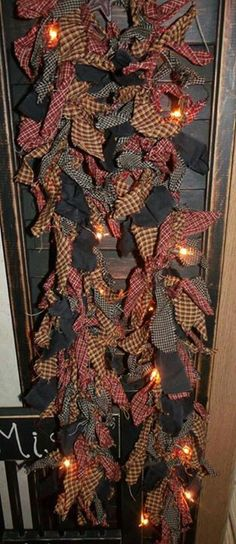 Rag garland or tie rags onto a string of lights Burlap Christmas, Primitive Christmas, Country Christmas, Christmas Decorations, Christmas Ornaments, Christmas Wreaths, Christmas Tree, Christmas Projects, Decor Crafts