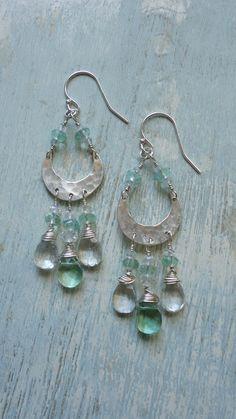 Boho Gypsy Dangle Earrings ~fluorite and sterling silver Found on EmilyClaireStudio.com