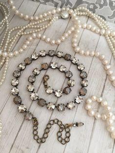 Items similar to SATIN HAZE. Neutral and Versatile. on Etsy Cute Jewelry, Jewelry Box, Jewelery, Jewelry Making, Unique Jewelry, Jewelry Ideas, Swarovski Crystal Necklace, Crystal Jewelry, Beaded Jewelry