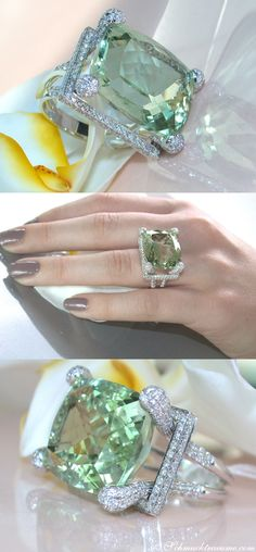 Glamorous: Huge Prasiolite (22,13 cts.) Diamond (1,78 cts. G-VS1) Ring, WG-18K -- Find out: schmucktraeume.com - Visit us on FB: https://www.facebook.com/pages/Noble-Juwelen/150871984924926 - Any questions? Contact us: info@schmucktraeume.com