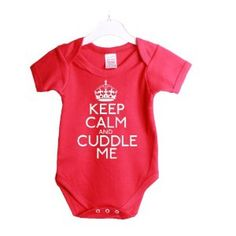 Keep calm and cuddle me funny babygrow baby shower gift suit 3/6 Months Red vest white print £7.99