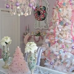 Pastel Christmas tree, like a winter wonderland