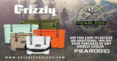 Grizzly Coolers are built for a lifetime! Use this code to receive an additional 10% OFF your purchase of any Grizzly Coolers FEAROD10 www.grizzlycoolers.com 10 Off, Coolers, Coding, Air Conditioners, Programming