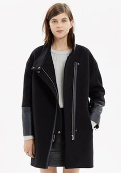 Leather-Edged City Grid Coat