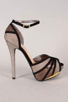 Anne Michelle Baha-08 Glitter Peep Toe Platform Sandal $39.20