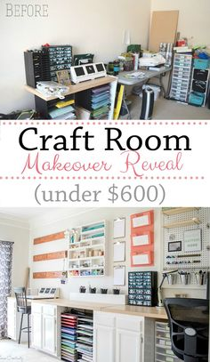 Craft Room Makeover for under $600- Lots of craft room organization on the wall with a giant pegboard, DIY organization and storage ideas, outlets above the countertops, and a gallery wall to hang pieces to dry.