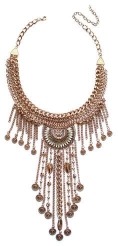 Antiqued Metal Drop Of A Fringe Necklace