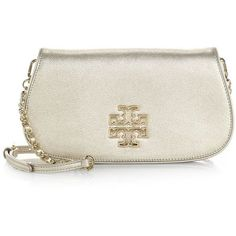 Tory Burch Britten Metallic Clutch with Strap (5.341.200 IDR) ❤ liked on Polyvore featuring bags, handbags, clutches, apparel & accessories, gold, metallic leather handbags, chain strap purse, real leather handbags, leather purse and genuine leather purse
