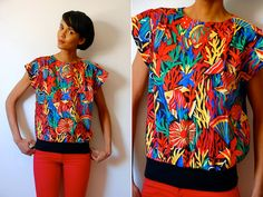 Vtg Tropical Swimming Fish Colorful SS Top by LuluTresors on Etsy, $19.99