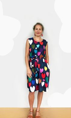 Bright Heart's cotton dress with tie (navy) – doopsdesigns Size 10 Models, T Dress, Delicate Wash, Cotton Dresses, Organic Cotton, Tie, Summer Dresses, Navy, Pattern