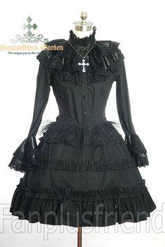 Gothic Lolita / Mana Cosplay, Large Satin Collar 2pcs Outfit