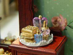 Handmade Miniature Vanity Tray with Perfume by JansPetitPantry