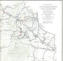 The Battle of South Mountain was fought September 14, 1862, as part of the Maryland Campaign of the American Civil War. Three pitched battles were fought for possession of three South Mountain passes: Crampton's, Turner's, and Fox's Gaps. Maj. Gen. George B. McClellan, commanding the Union Army of the Potomac, needed to pass through these gaps in his pursuit of Confederate General Robert E. Lee's Army of Northern VA.